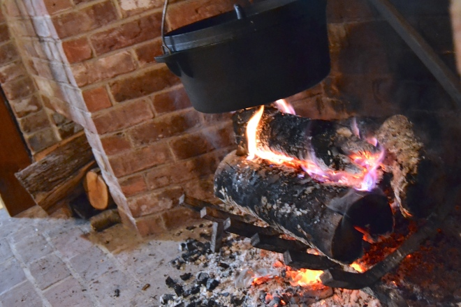 cooking over the hearth fire