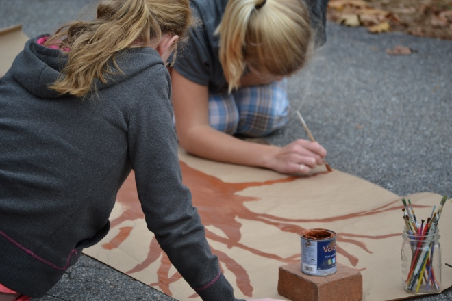 Painting our Thankful Tree